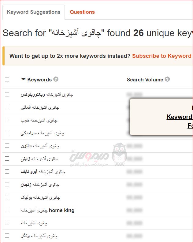 نتیجه جستجو برای کلمه کلیدی در ابزار چرخش کلمه کلیدی KeywordTool