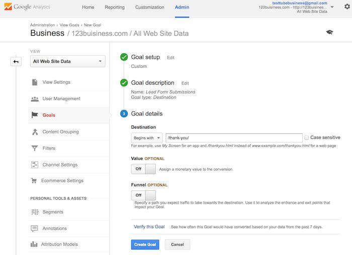 انتخاب مسیر و آدرس در گوگل آنالیتیکس