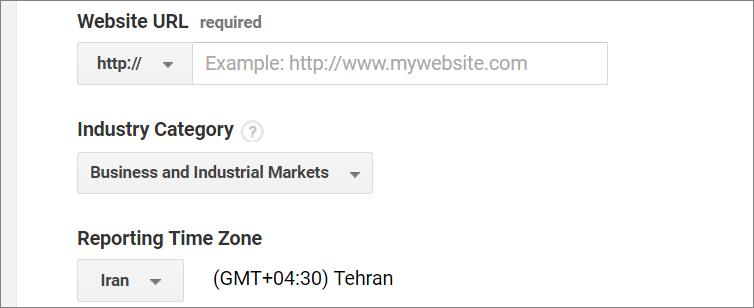 آدرس سایت و منطقه زمانی