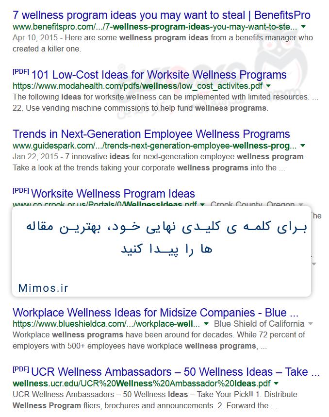 جستجو در گوگل برای کلمه کلیدی شاخص