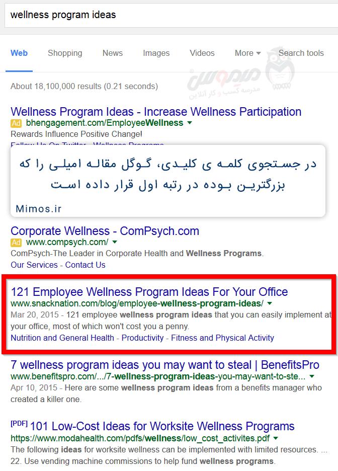 پست امیل با نام ایده هایی برای سلامت کارمندان در رتبه یک گوگل قرار دارد