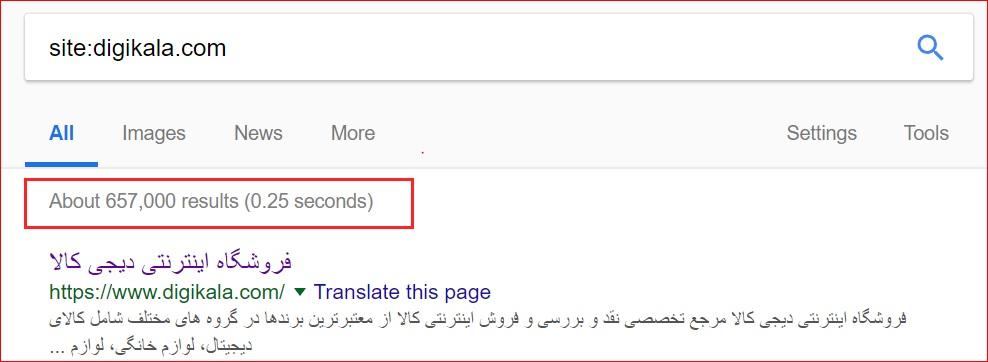 میزان ایندکس دیجی کالا در گوگل