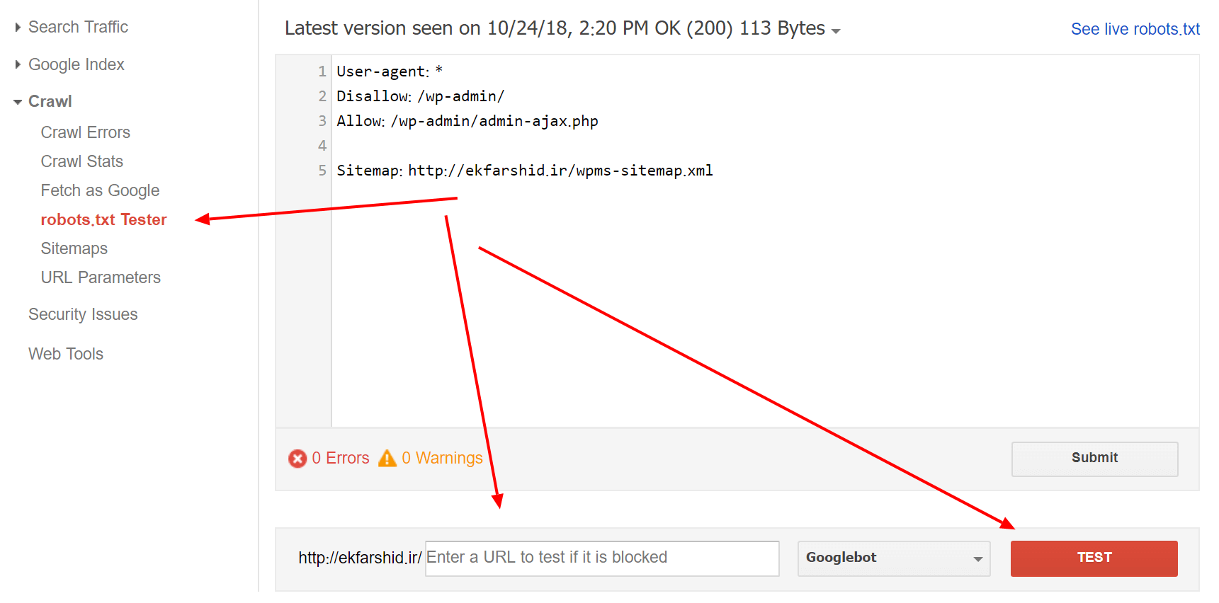 ارسال فایل ربات برای گوگل