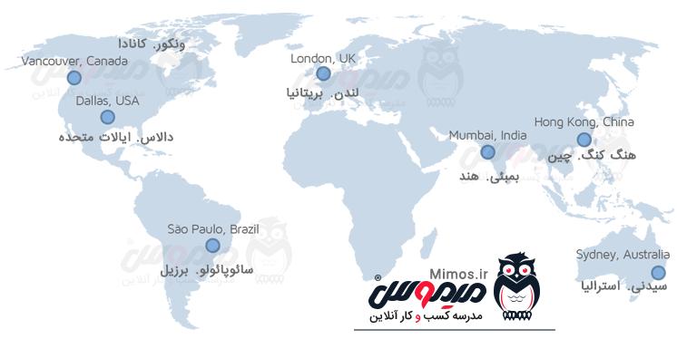 مکان جغرافیایی تست gtmetrix