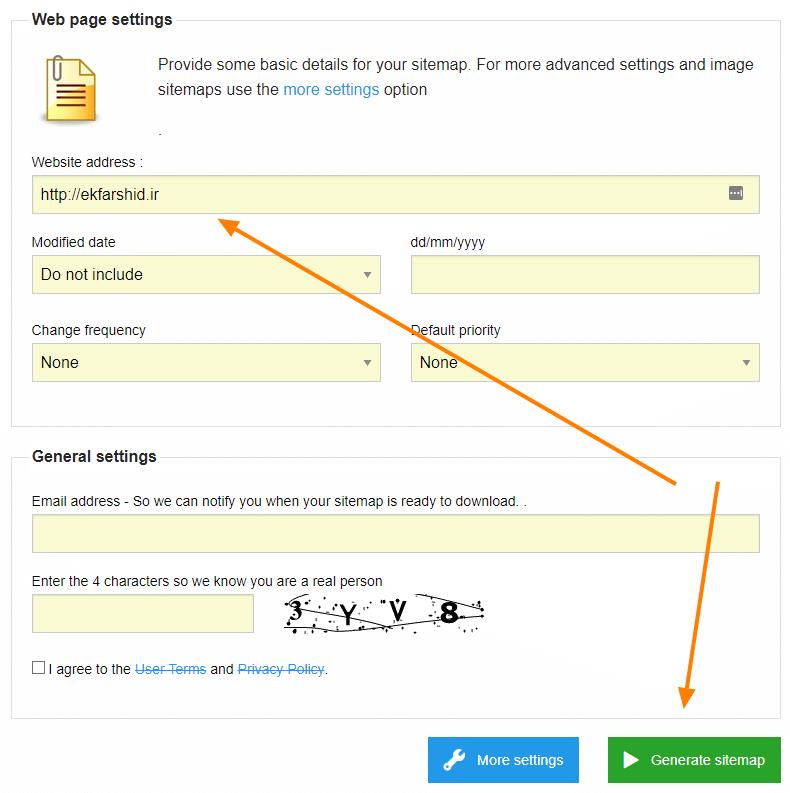 Xml Sitemap Generator page setting
