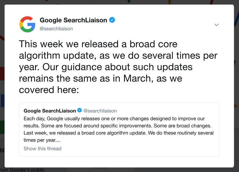 اعلام آپدیت گوگل در یک توئیت