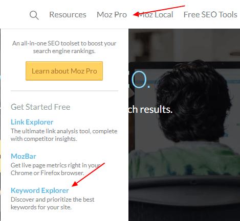 مسیر دسترسی به ابزار moz keyword explorer