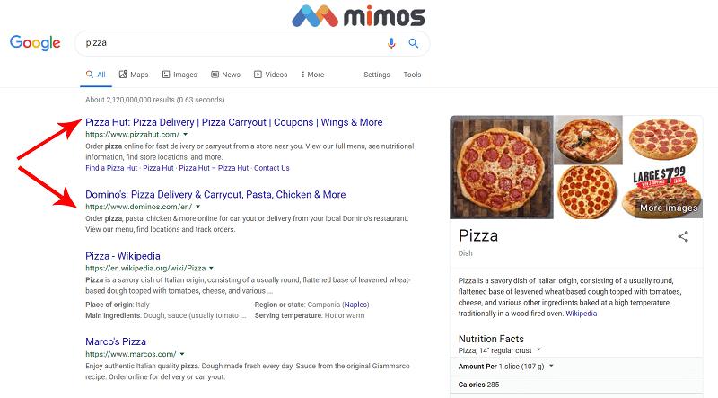 نتیجه جستجوی گوگل برای کلمه کلیدی پیتزا