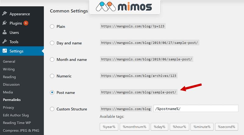 تنظیمات پیوندهای یکتا در وردپرس